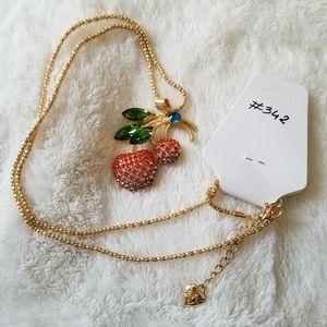 Necklace apples cherries swarovski crystal gold